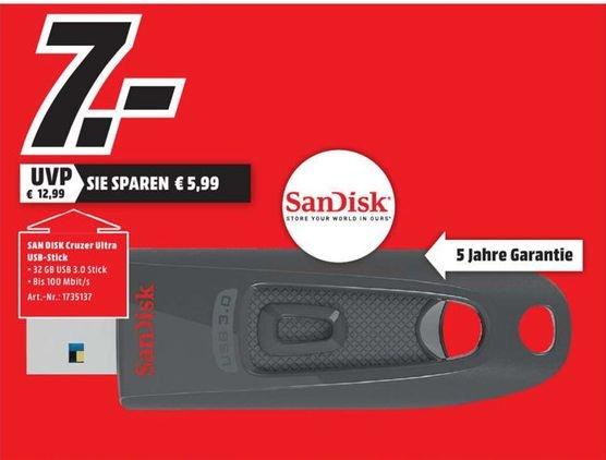 [Lokal Mediamarkt Schweinfurt] SanDisk Ultra 32GB USB-Flash-Laufwerk USB 3.0 bis zu 100MB/?Sek für 7,-€