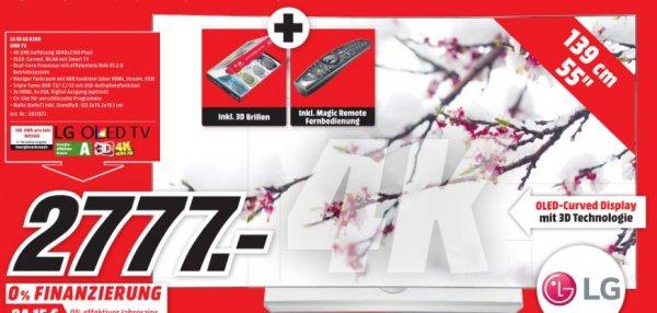 [Lokal Mediamarkt Bielefeld] LG 55EG9209 Fernseher 139 cm (55 Zoll) Curved 3D OLED TV, 4K Ultra HD, Triple Tuner, Smart TV inc. Magic Remote und 4 Brillen für 2777,-€