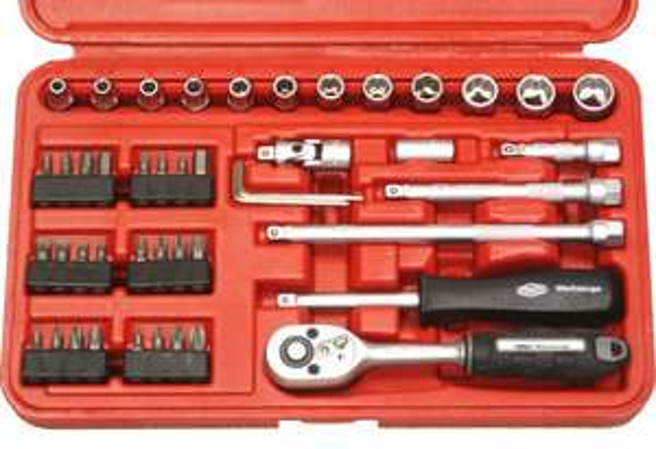 [NBB]Famex 590-SD-40 Rot/Schwarz Mechaniker-Steckschlüsselsatz nächster Preis 23,41€