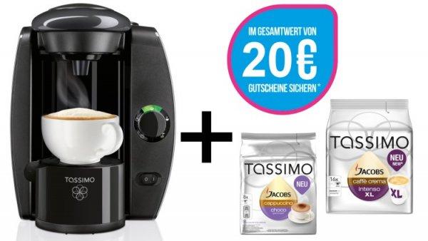 Tassimo T4 + 20 EUR Gutschein* + 2x TDisc Heißgetränkemaschine @ebay 29,99€