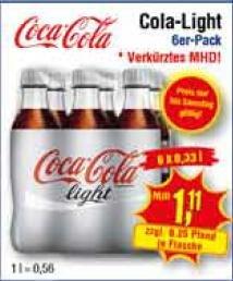 [Center Shop ab 07.03.] 6 x 0,33 l Coca Cola light für 1,11 € (0,56 €/Liter) verkürztes MHD, Ersparnis: 68%!