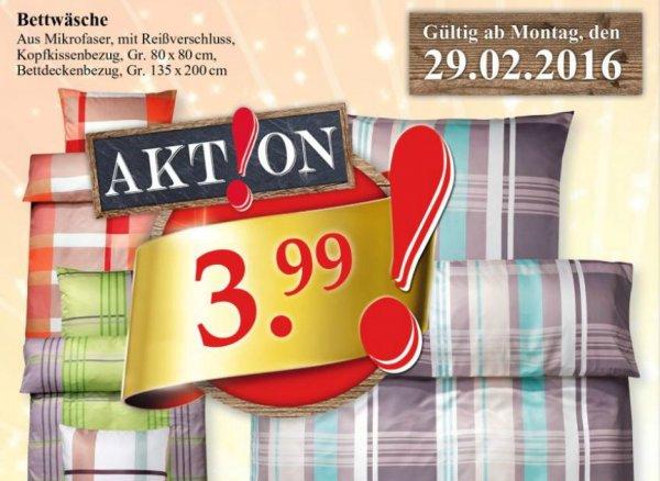[Bundesweit] Woolworth Mikrofaser Komplettset Bettwäsche (Kopfkissenbezug + Bettdeckenbezug) 3,99€ ab Montag