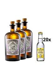 [Gourmondo] 3x Monkey 47 Gin + 20x Fever-Tree Indian Tonic Water Set