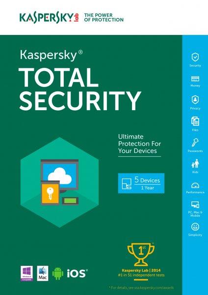 Kaspersky Total Security Multi-Device (3 Geräte für 1 Jahr)
