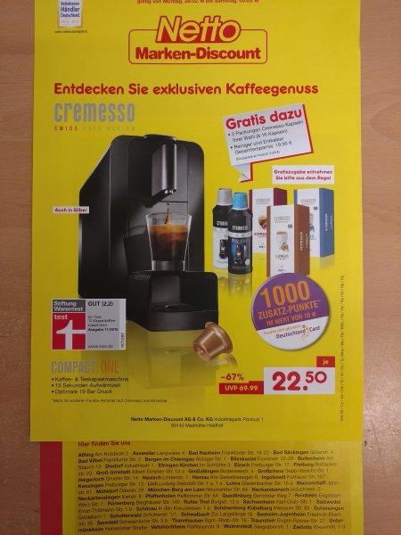 Netto MD Cremesso Maschine + 3x Kapseln + Reiniger + Entkalker 12.50€