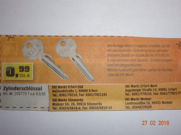[OBI in EF, WE, SÖM] Schlüssel-Duplikate für 0,99 €