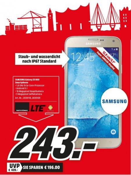 [Lokal Mediamärkte Hamburg und Umgebung]  Nur am 29.02....Samsung Galaxy S5 neo Smartphone (5,1 Zoll (12,9 cm) Touch-Display, 16 GB Speicher, Android 5.1) schwarz und gold für je 243,-€