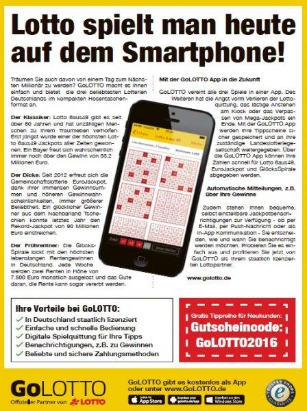 Gratis Lotto 6aus49 Tippreihe für Neukunden bei GoLotto
