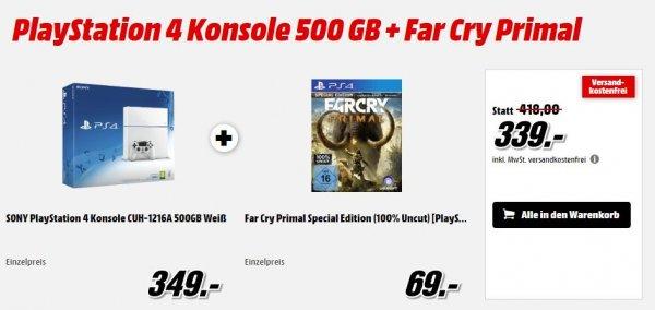 PS4 CUH-126A, 500GB (auch in weiß) + Far Cry Primal für 339€