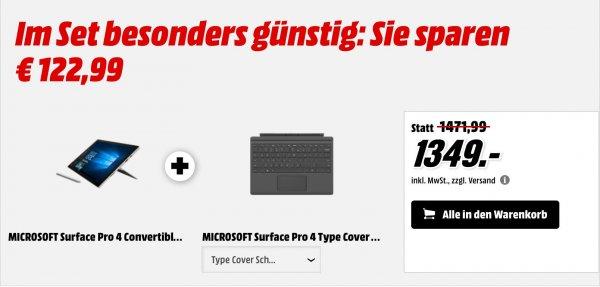 (Media Markt) Surface pro 4 mit kostenlosem Type Cover 4