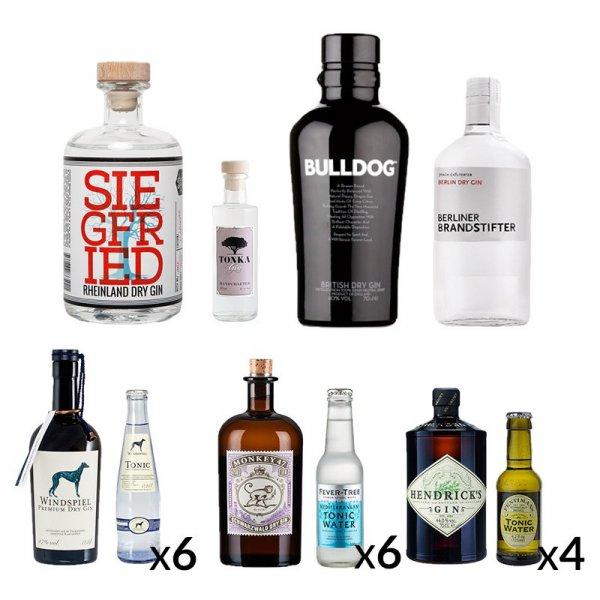 """Delinero.de: Premium-Gin-Bar-Set + Tonic mit Gutschein """"Super50"""" für 164,99 Euro"""