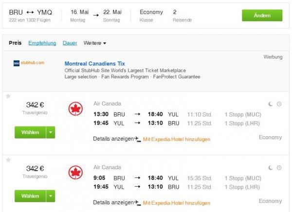 Günstige Flüge mit Air Canada von Brüssel nach Montreal - 352 €