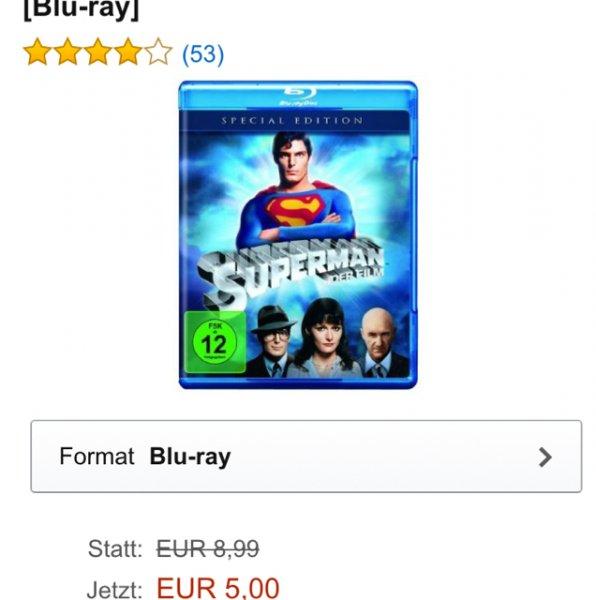 Superman - Der Film - Blu-ray für 5€ [Prime] (VGP 8,99€) @ Amazon