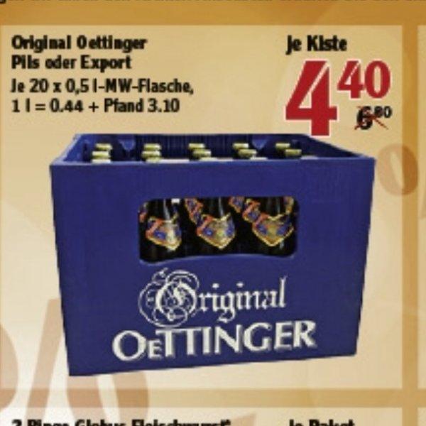 Original Oettinger Pils oder Export 20x0,5l [Globus Markt Stockstadt evtl. noch andere] 4,40€