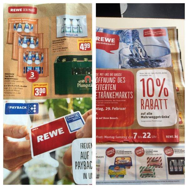 REWE  Zwingenberg 3 Kisten Wasser für 3€ +10% Rabatt und 10 fach Payback