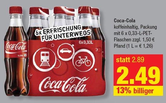 [Treff 3000] 6 Pack Coca-Cola  0,33 Flaschen für 2,49€