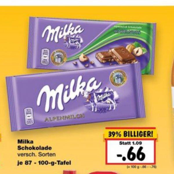 [Kaufland] Milka Schokolade 87-100g vers. Sorten für 0,66€