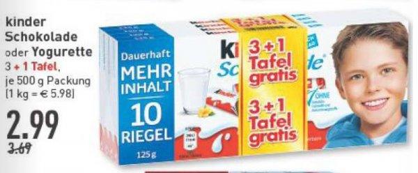 [MARKTKAUF-RHEINRUHR] Kinderschokolade 3er+1  2,99€