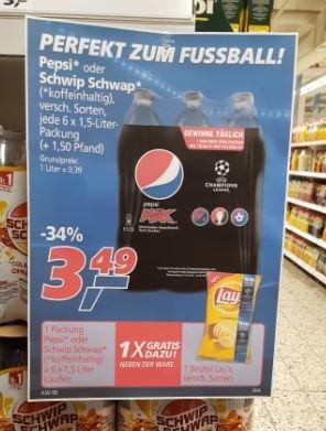 [real] 6er Pack 1,5l Pepsi/Schwip-Schwap (koffeinhaltig) für 3,49€ kaufen - Gratis Lays Chips dazu