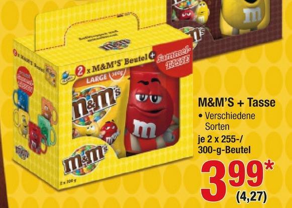 M&Mx27s 2*255g (Crispy) oder 2*300g (Peanut oder Choco) inkl. Sammeltasse für 4,27 € @ Metro (10.03 - 16.03.)