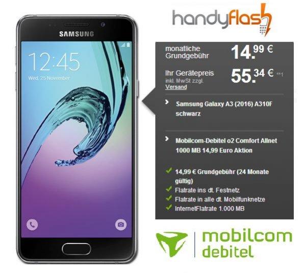 Samsung Galaxy A3 (2016) 55,34 [Einmalig] € + Mobilcom-Debitel o2 Comfort Allnet 1000 MB 14,99 € / Monat
