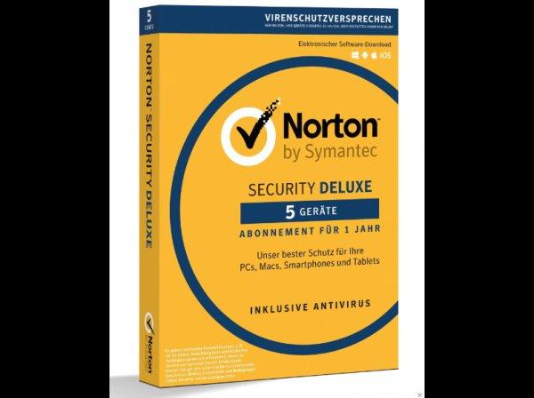 NORTON Security Deluxe 5 User (+ weitere Größen) für 32 € + ggf. 1,99 Versand + (25% Quipu + 15 € Cashback möglich)
