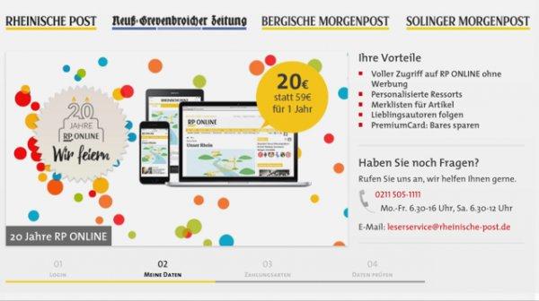 1 Jahr Vollzugriff auf rp-online.de für 20 Euro statt 59 Euro
