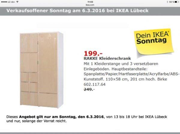 [Lokal Lübeck] Ikea RAKKE Kleiderschrank am 06.03. für 199€ statt 249€