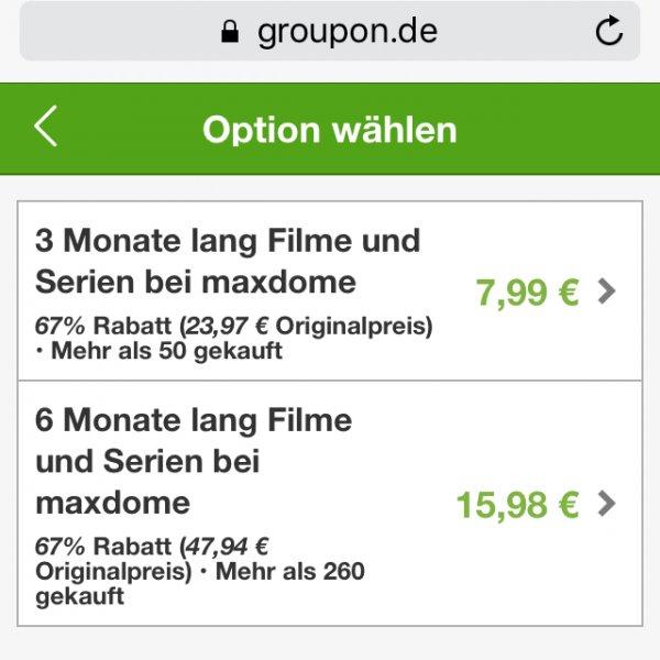 [Online Groupon/Maxdome] 6 Monate Maxdome für 12,78€ (2,13€ statt 7,99€ monatl.)