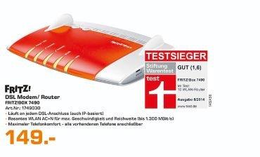 [Saturn Bremen,Dortmund,Lünen und Witten] AVM FRITZBox 7490 Wireless Lan AC + N Router (VDSL/?ADSL, 1.300 Mbit/s (5 GHz), 450 Mbit für 149,-€