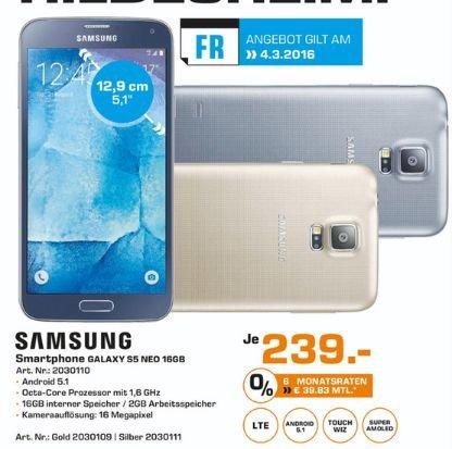 [Lokal Saturn Hildesheim und Celle] Tagesangebot am 04.03.2016..Samsung Galaxy S5 neo Smartphone (5,1 Zoll (12,9 cm) Touch-Display, 16 GB Speicher, Android 5.1) gold,silber und blau für je 239,-€