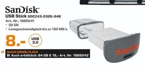 [Lokal Saturn Wiesbaden und Mainz] SanDisk Ultra Fit USB-Flash-Laufwerk 32GB USB 3.0 bis zu 130 MB/?Sek für 8,-€