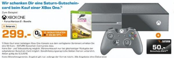 [Lokal Saturn Lüdenscheid] Microsoft Xbox One Spielekonsole 500 GB Schwarz inklusive Forza Horizon 2 *NEUWARE* für 299,-€ +50,-€ Gutschein