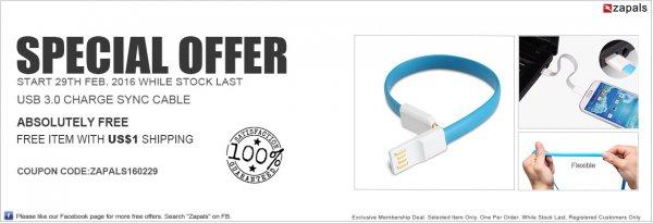 [Zapals] Flexibles USB 3.0 auf Micro USB/Lightning-Kabel in verschiedenen Farben für 90 Cent