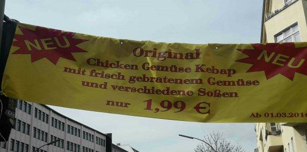 [Berlin Tiergarten] Chicken Gemüse Döner 1,99€