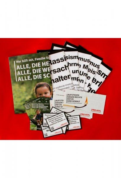 """Aktionspaket """"Gegen rechte Hetze und Gewalt"""" (Aufkleber, Plakate, Postkarten)"""