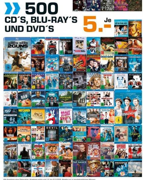 (Saturn Berlin / Potsdam) 500 Blu-Ray's, DVD's und CD's für je 5,- EUR