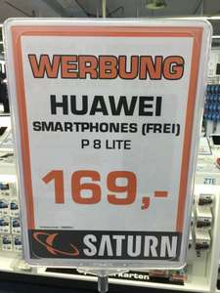 Huawei P8 Lite 169€ Saturn Dortmund Eving