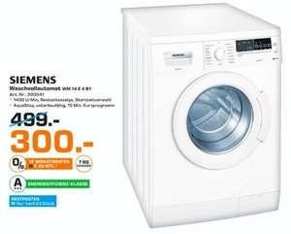 (Lokal Saturn Osnabrück) Siemens Waschmaschine WM14E4B1 7kg 1400U/min  A+++ 25% unter idealo