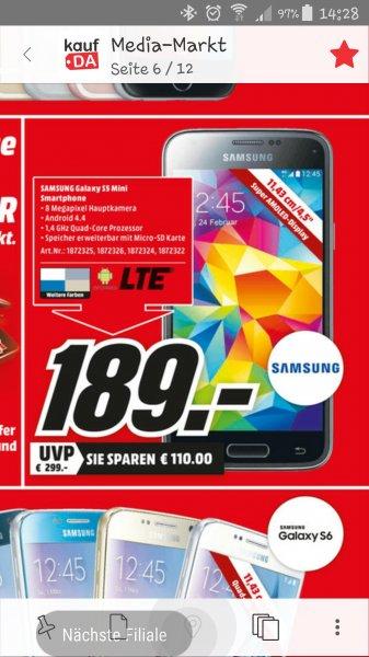 Samsung Galaxy S5 Mini verschiedene Farben nur 189€ Lokal Media Markt Hamburg Oststeinbek