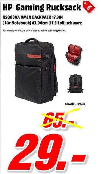 [Mediamarkt Porta Westfalica Bundesweit] HP Omen (K5Q03AA) Gaming Rucksack (für Notebooks) 43,94 cm (17,3 Zoll) schwarz für 29,-€ Versandkostenfrei