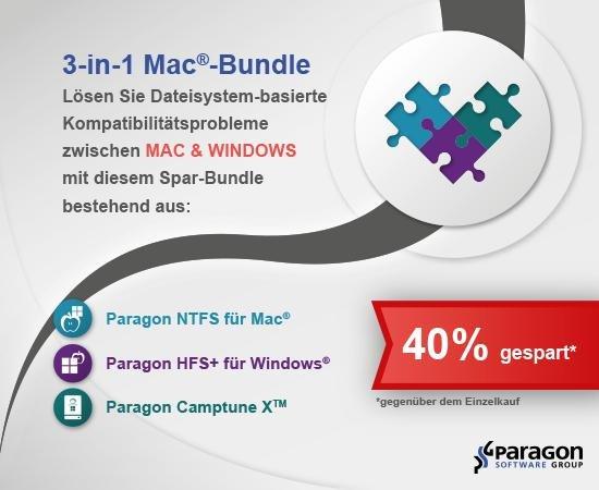 (MAC) Das Paragon 3-in-1 Mac-Bundle mit 3 Apps aktuell für 22,95€ – 40% Ersparnis