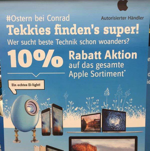 Conrad Hannover 10 % auf Apple z.B. iPad Air 2 64 GB Gold