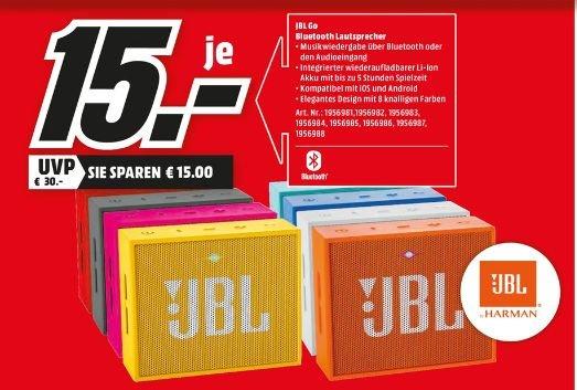 [Lokal Mediamarkt Oststeinbek] JBL GO (Alle Farben) - Tragbarer Bluetooth Mini-Lautsprecher (3W, Bluetooth 4.1, 5 Std. Akku) für je 15,-€