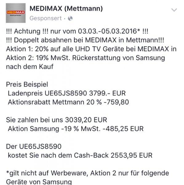 Medimax Mettmann: 20% auf alle UHD TV + optional 19% MwSt. Erstattung von Samsung