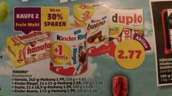 [Penny] Kaufe 2 - spare 30 % - Hanuta, Duplo, Kinderriegel, Bueno