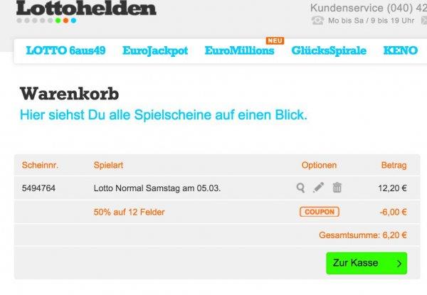 12 Felder Lotto 6aus49 für 6,20 € (6 Gratisfelder für Neukunden bei Lottohelden.de)