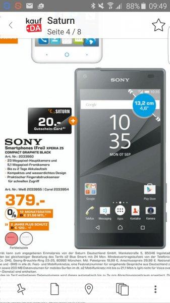 "(Lokal) ""Sony Xperia z5 Compact, Saturn 379+Geschenkkarte"