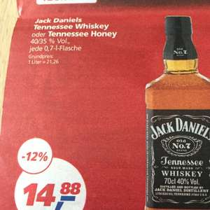 Jack Daniels Tennessee Whisky oder Tennessee Honey 0,7l für 14,88€ | Real Gütersloh