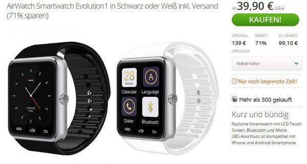 [Groupon] AirWatch Smartwatch Evolution1 in Schwarz oder Weiß 39,90€